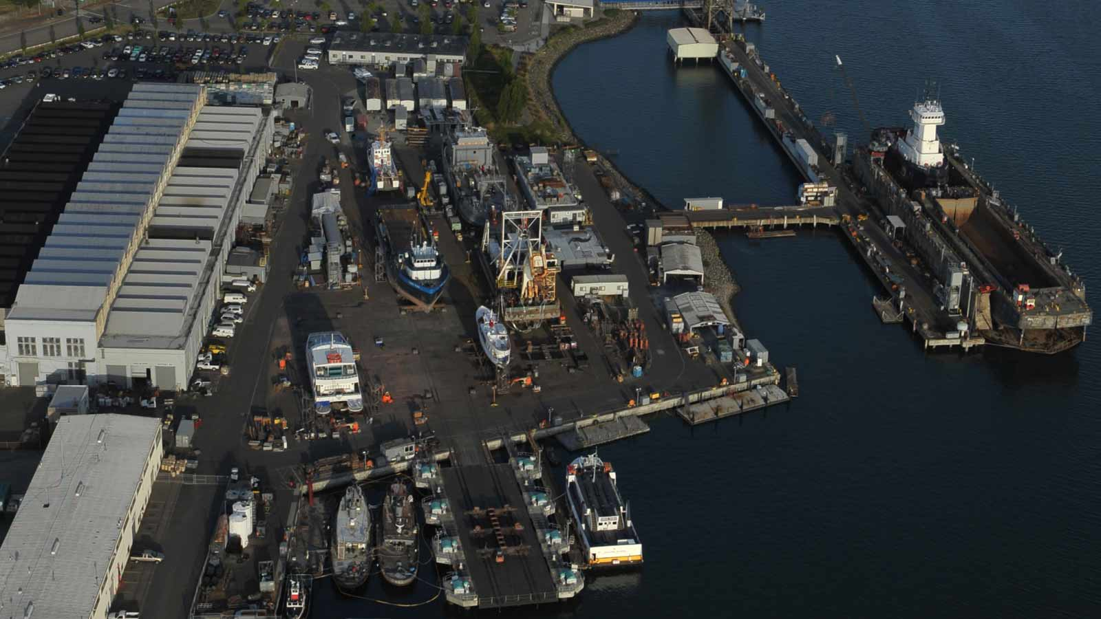 Aerial view of Bay Ship and Yacht Co boatyard