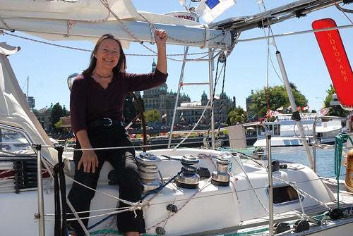 Jeanne Socrates pictured in S/V Nereida's cockpit